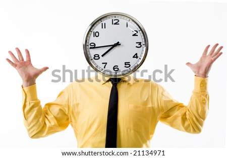 Portrait of man in yellow shirt and clock instead of head with open palms - stock photo