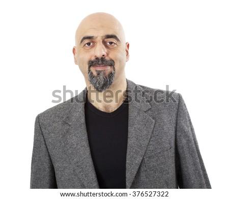 Portrait of man on white background - stock photo