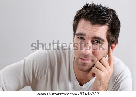 Portrait of man on white background - stock photo