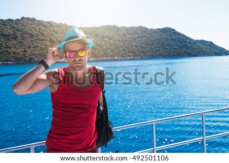 Portrait of man on yacht at the sea, Turkey