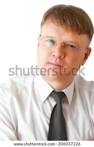 Portrait of man wearing glasses, isolated on white  - stock photo