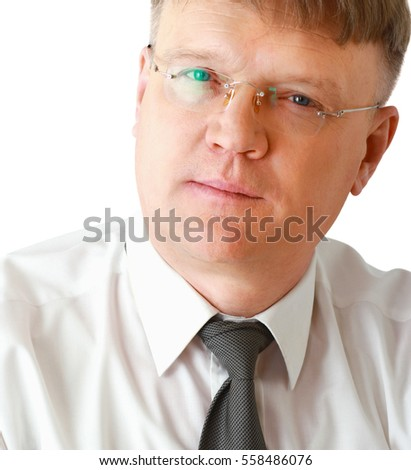 Portrait of man wearing glasses, isolated on white