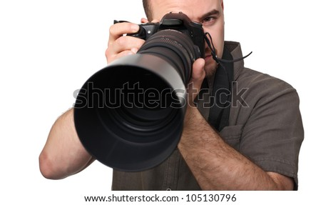 portrait of man with camera isolated on white - stock photo