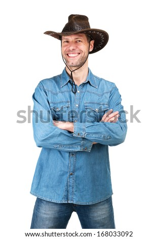 Portrait of Man with cowboy hat isolated on a white background - stock photo