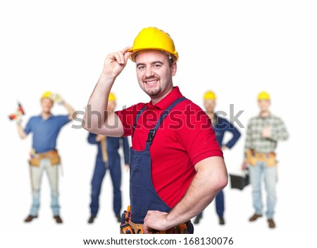 portrait of manual worker on white background