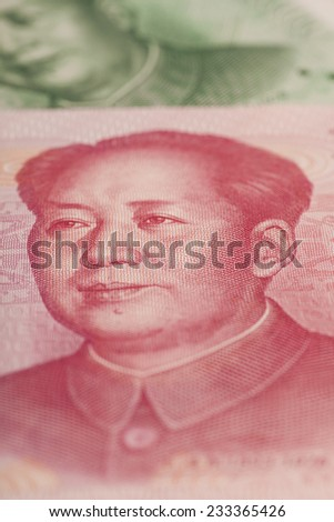 Portrait of Mao Zedong at 100 yuan banknote (China)  - stock photo