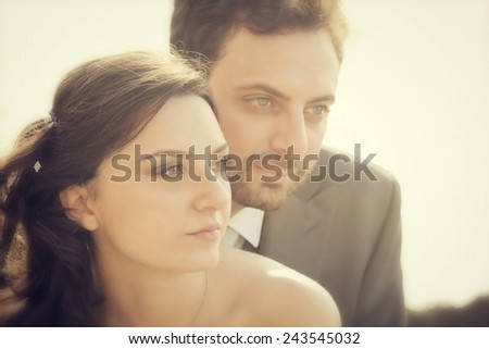 Portrait of married couple in day of their wedding. - stock photo