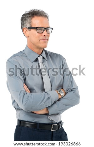 Portrait Of Mature Businessman In Eyeglasses With Arm Crossed Isolated On White Background