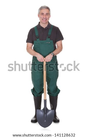 Portrait Of Mature Male Gardner Isolated Over White Background - stock photo