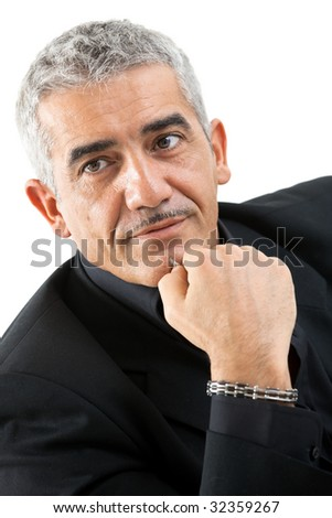 Portrait of mature man thinking, isolated on white background. - stock photo