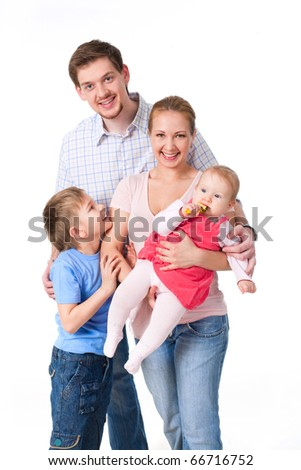 Portrait of members of the family over white background