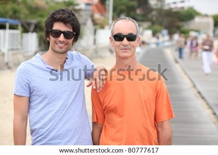 portrait of 2 men - stock photo