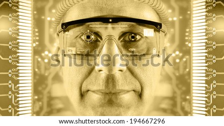 Portrait of men in smart glasses on a electronic circuit board background. Toned gold. - stock photo