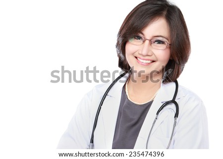portrait of middle aged female doctor with stethoscope Isolated over white background - stock photo