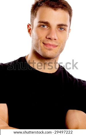 Portrait of middle aged man isolated on white background - stock photo
