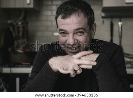 "Portrait of middle-aged men. ""Real People"" series. Smiling adult man - stock photo"