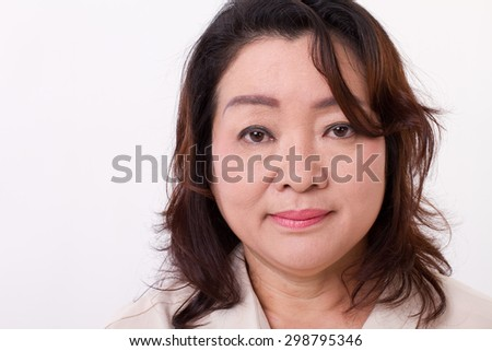 portrait of middle aged woman - stock photo