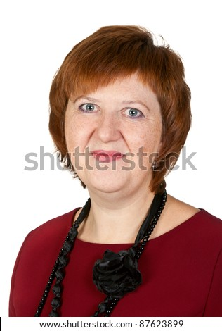 Portrait of middle-aged woman in the studio isolated on white background - stock photo