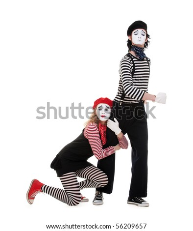 portrait of mimes. isolated on white background - stock photo