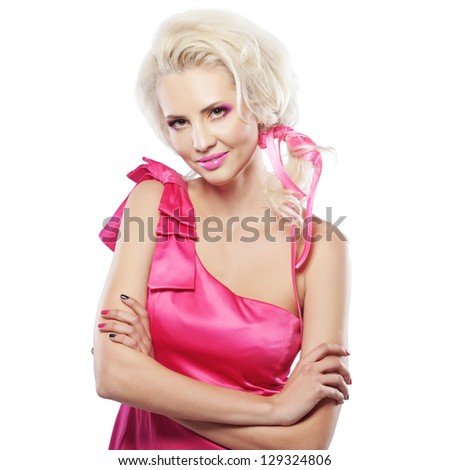Portrait of model in doll-like style - stock photo