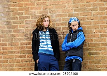 portrait of modern teenage girls - stock photo
