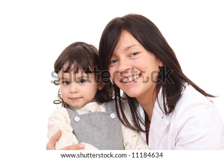 portrait of mother and daughter isolated on white
