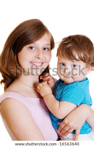 portrait of mother and son on white background - stock photo
