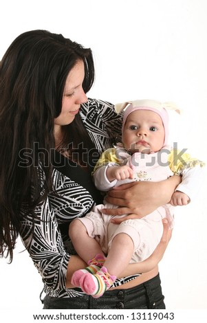 Portrait of mother with little child on white background