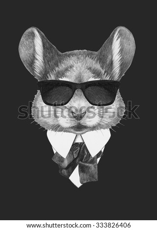 Portrait of Mouse in suit. Hand drawn illustration. - stock photo