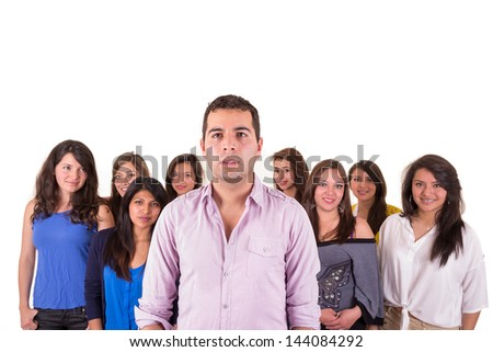 Portrait of multi-ethnic serious hispanic people - stock photo