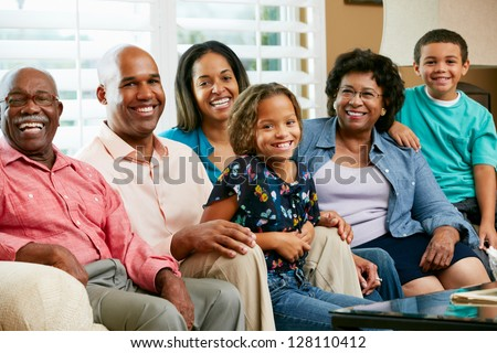 Portrait Of Multi Generation Family - stock photo