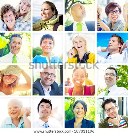 Portrait of Multiethnic Diverse Cheerful People - stock photo