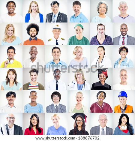 Portrait of Multiethnic Mixed Occupations People