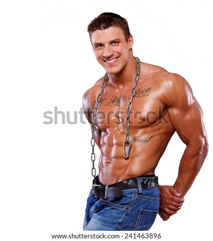 Portrait of muscle man posing - stock photo