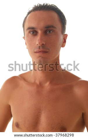 Portrait of muscular man isolated on white