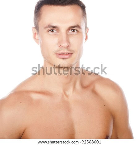 portrait of naked attractive positive young caucasian man, face and torso of young beauty man, nice muscle caucasian sportsman, perfect man body, isolated on white background image
