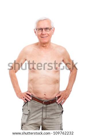 Portrait of naked senior man smiling, isolated on white background. - stock photo