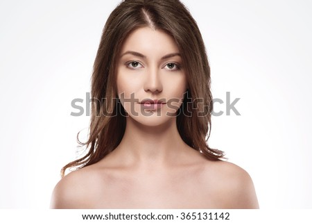 Portrait of natural and beautiful woman - stock photo