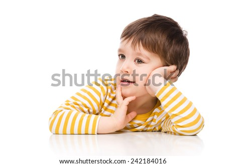 Portrait of nice cheerful boy, isolated over white - stock photo