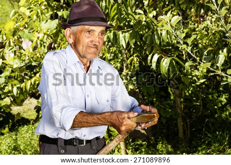Portrait of old farmer preparing his scythe to mow the grass traditionally - stock photo