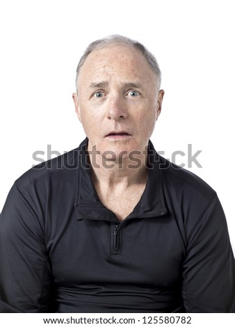 Portrait of old man against white background - stock photo