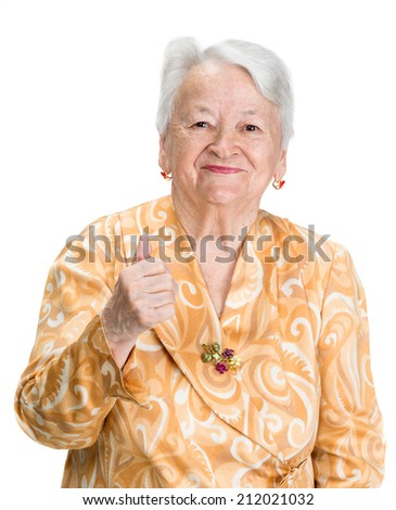 Portrait of old smiling woman on a white background - stock photo