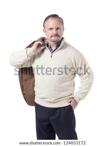 Portrait of old successful businessman standing against white background - stock photo