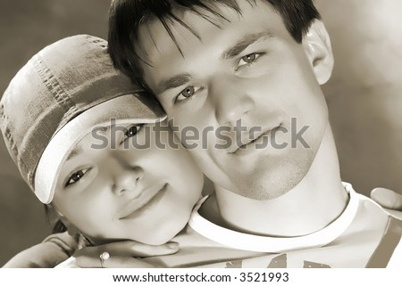 portrait of pair young people, sunny day - stock photo