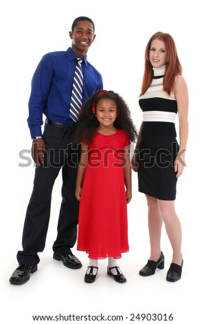 Portrait of parents and child over white.
