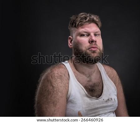 Portrait of pensive man - stock photo