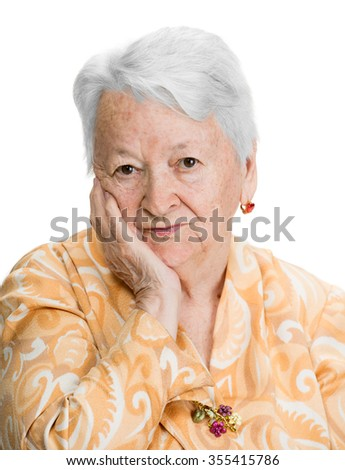 Portrait of pensive old woman on a white background - stock photo