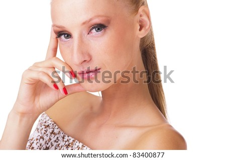 Portrait of pensive young woman - stock photo