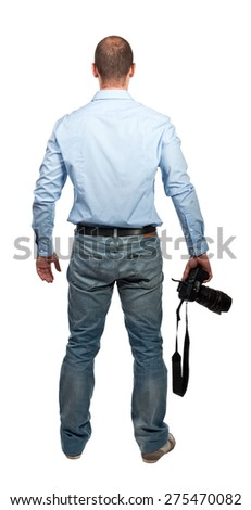 portrait of photografer on white background - stock photo