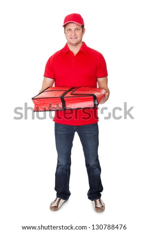 Portrait of pizza delivery guy. Isolated on white background - stock photo